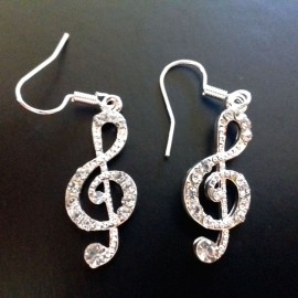 Boucles d'oreilles fantaisie clé de sol avec strass