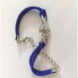 Bracelet fantaisie clé de sol lacet bleu profond