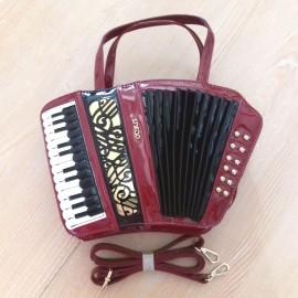 Sac à main cuir accordéon bordeaux