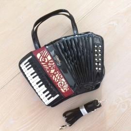 Sac à main cuir accordéon noir