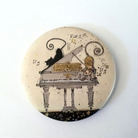 Magnet rond piano a queue avec chat
