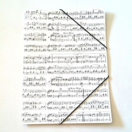 Porte document blanc notes de musique