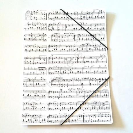Porte document blanc notes de musique