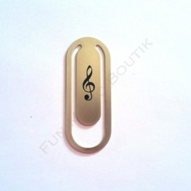 Marque page clé de sol trombone argent métal