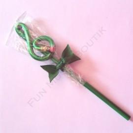 Crayon gris clé de sol verte avec gomme