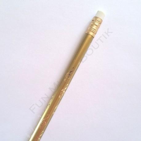 Crayon gris clé de sol doré avec gomme