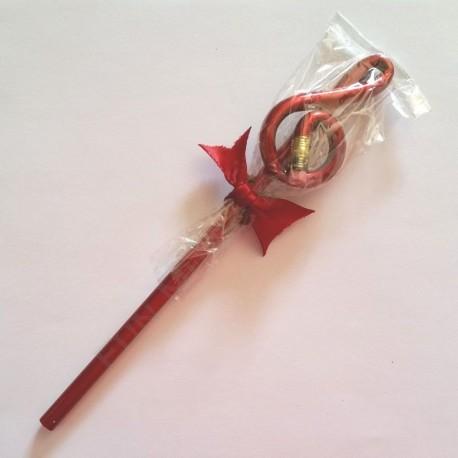 Crayon gris clé de sol rouge avec gomme