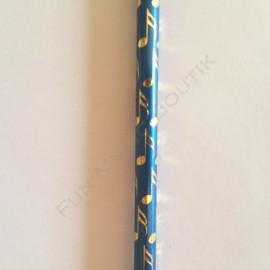 Crayon gris note double croche bleu avec gomme