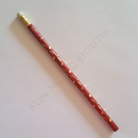 Crayon gris note double croche rouge avec gomme