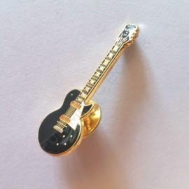 Pins guitare électrique noire dorée miniature
