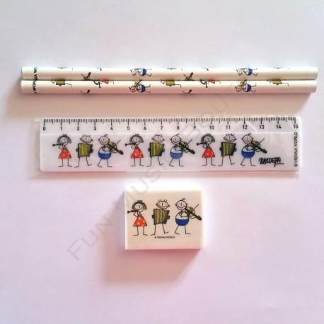 Lot de 2 crayons gris, une gomme et une règle assortis écolier musicien