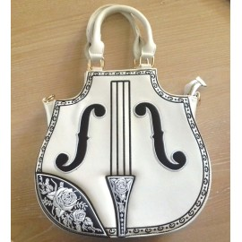 Sac à main violon couleur blanc style rock