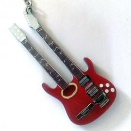 Porte clés guitare collection double manche rouge