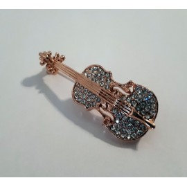 Broche doré violon