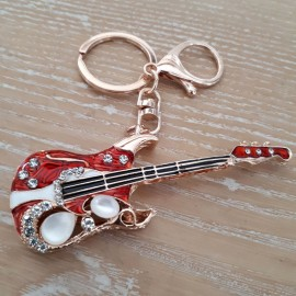 Porte clés guitare électrique rouge avec strass