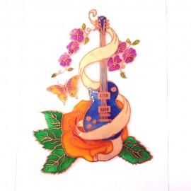 Guitare électrique bleu fantaisie fleurs papillon aimantée