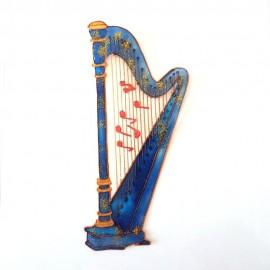 Harpe bleu fantaisie notes de musique