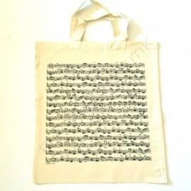 Sac en tissu notes de musique Blanc écru