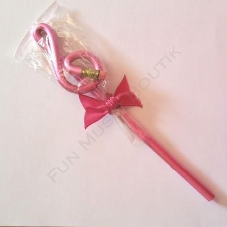 Crayon gris clé de sol Rose avec gomme