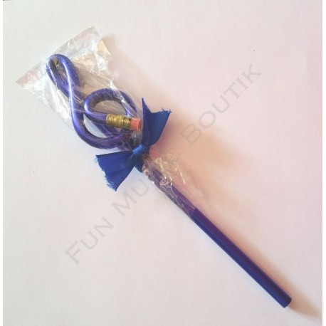 Crayon gris clé de sol bleu avec gomme