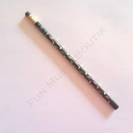 Crayon gris note double croche Noir doré avec gomme
