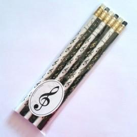 Lot de 6 Crayons gris motif clé de sol noir et blanc avec gomme