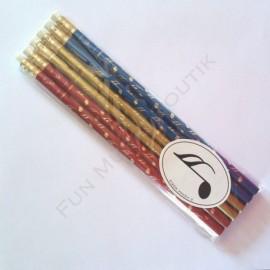 Lot de 6 Crayons gris motif note double croche de couleurs avec gomme