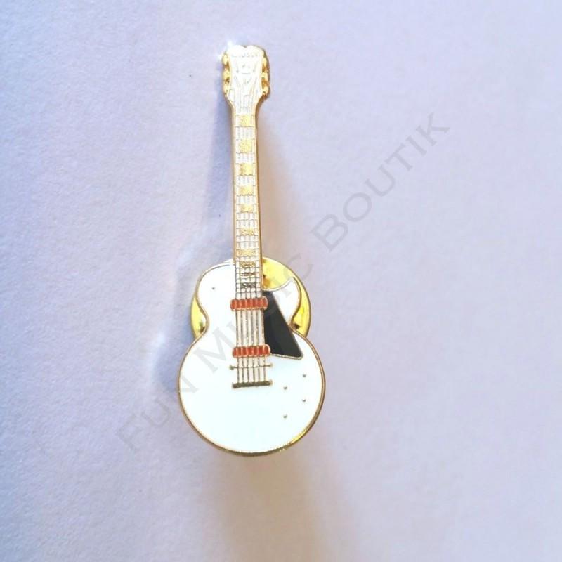 pins guitare lectrique blanche miniature fun music boutik. Black Bedroom Furniture Sets. Home Design Ideas