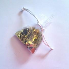 Pochette de confettis couleur or thème musique